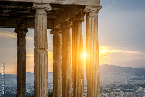Fotografie, Obraz  Typical ancient greek colonnade, sunset time