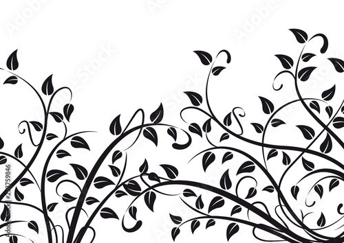 Spring background concept. Plants and foliage on white Fototapete