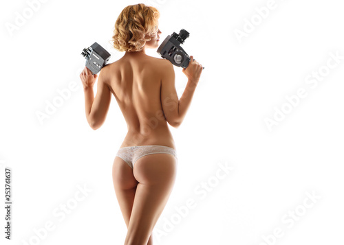Fotografie, Obraz  sexy woman with old cameras
