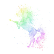 Watercolor Unicorn Silhouette ...