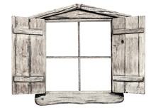 Old Grunge Light Wooden Window...
