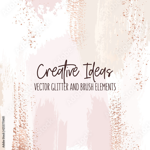 Fototapeta Creative Brush Strokes Glitter Elements Golden Simple Surface Design Modern Design Background For Wedding Invitation Web Banner Card