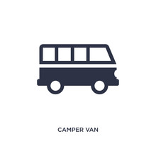Camper Van Icon On White Backg...