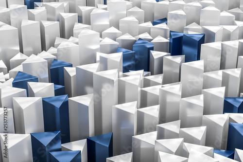 3d rendering, white triangle pillar