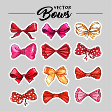 Bow Hand Drawn Vector Stickers Illustrations Set. Realistic Red Patch, Golden, Pink And Purple Ribbon Knots Drawing. Bowknot Cliparts. Hair Accessories. Isolated Color Bow-tie. Greeting Card Design