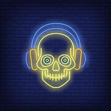 Skull Wearing Headphones Neon ...
