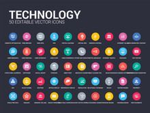 50 Technology Set Icons Such As Meta Elements, Microblogging, Mood Board, Multichannel Marketing, Native Apps, Near Field Communication, Object-oriented Programming, Opening Tag And Closing Tags,