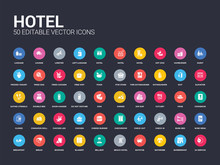 50 Hotel Set Icons Such As 24 ...