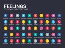 50 Feelings Set Icons Such As ...