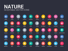 50 Nature Set Icons Such As Acicular, Almond, Alstroemeria, Anemone, Anthurium, Aster, Astrantia, Baobab, Beech. Simple Modern Isolated Vector Icons Can Be Use For Web Mobile