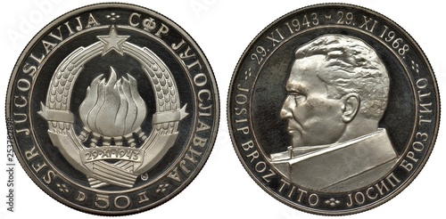Fotografia  Yugoslavia Yugoslavian silver coin 50 fifty dinara 1968, subject 25th Anniversar