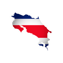 Vector Isolated Simplified Illustration Icon With Silhouette Of Costa Rica Map. National Flag (red, White, Blue Colors). White Background