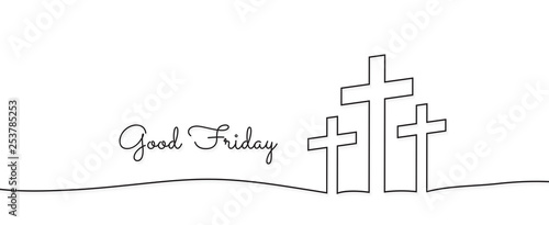 Obraz concept of the crucifixion in the form of 3 crosses goodfriday holiday - fototapety do salonu