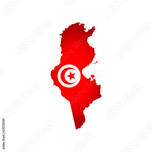 Photo Vector isolated simplified illustration icon with silhouette of Tunisia map