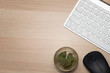 Flat lay, Top view office table desk, Workspace with marijuana buds, keyboard, and office supplies