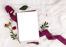 Burgundy Wedding Invitation Mockup With Rose And Ribbon