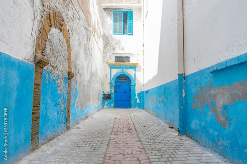 Tight and Narrow Blue and White Street in the Medina of Essaouira Morocco