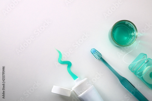 Fotografie, Obraz  Equipment for oral cleaning on a white table top view