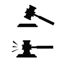 Flat Design Of Judge Gavel Icon. Simple Modern Symbol. Perfect Black Pictogram Illustration Isolated On White Background. Gavel Blow Concept.