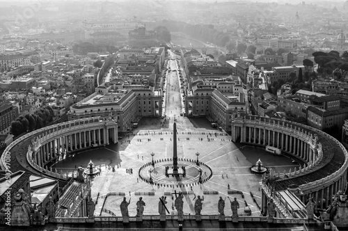 Poster Rome Aerial view of St Peter's square in Vatican,black and white, Rome Italy