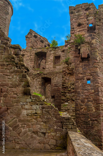 Photo  Great view from inside the bailey ruins of Hanstein Castle on a nice day with blue sky