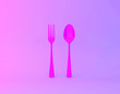 Leinwanddruck Bild - Creative idea layout made of spoons and forks  in vibrant bold gradient purple and blue holographic colors background. minimal healthcare and food concept.