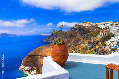 Gorgeous views of caldera in Santorini island. Greek holidays