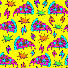 Seamless Pattern With Colorful Pizza Slices And Lightning Strikes. Yellow Background.