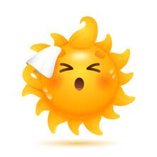Cartoon Sun Moping Its Forehea...