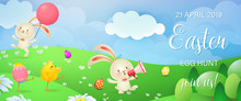 Easter Egg Hunt Festive Banner Design. Cute Chicks, Bunnies, And Colored Eggs On Flowery Meadow. Illustration Can Be Used For Posters, Flyers, Invitation Cards