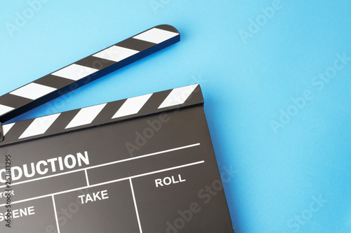 Valokuva Movie clapper-board on blue background