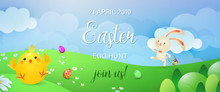 Easter Egg Hunt, Join Us Banner Design. Cute Bunny With Flag, Chicken And Eggs On Meadow. Illustration Can Be Used For Posters, Flyers, Leaflets