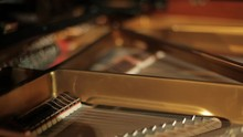 Inside A Grand Piano Showing Strings, Hammers, Dampers And Frame