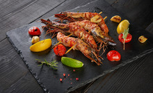 Barbeque Grilled Prawns With S...