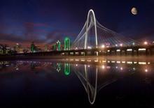 Dallas Skyline And Famous MHH Bridge Reflecting W/moon