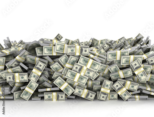 Stampa su Tela Tall pile of us currency - US dollars isolated stacked on white background