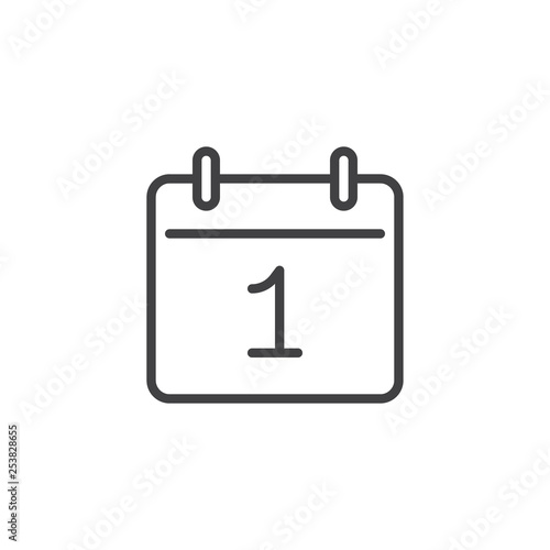 Day 1 calendar line icon. linear style sign for mobile concept and web design. Calendar date - day one outline vector icon. Reminder symbol, logo illustration. Pixel perfect vector graphics Fototapete
