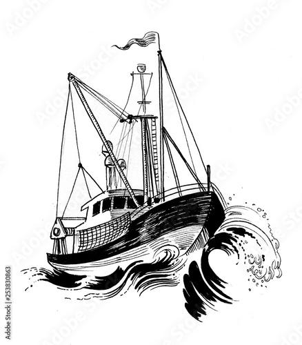 Fotografia, Obraz Fishing boat in stormy sea