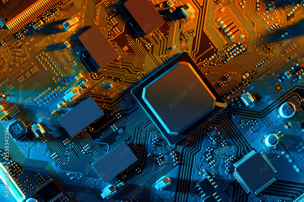 Fototapety, obrazy: Electronic circuit board close up.