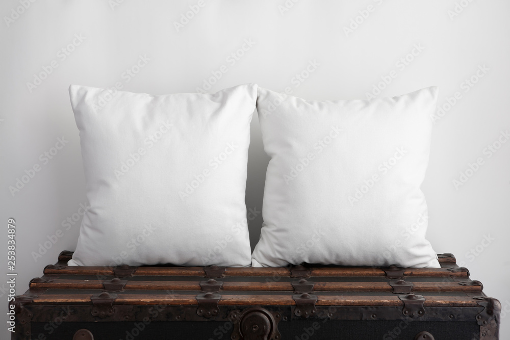 Fototapety, obrazy: Mockup of two large white square cushions sitting on an old vintage suitcase