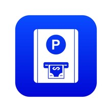 Parking Fee Icon Digital Blue For Any Design Isolated On White Vector Illustration