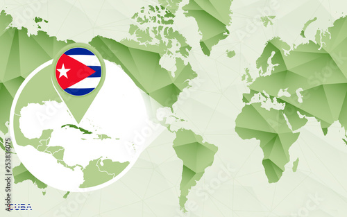 America centric world map with magnified Cuba map. - Buy this stock ...