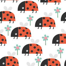 Seamless Pattern With Funny Ladybug And Flower. Kids Textile Print. Vector Hand Drawn Illustration.