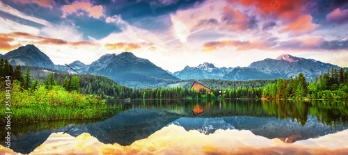Foto auf Leinwand Blau Jeans Unique mountain lake Strbske pleso (Strbske lake) in High Tatras national park, Slovakia