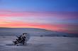 piękny zachód słońca zimą
