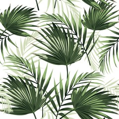 Naklejka Liście Seamless pattern with tropical palm leaves on white background.