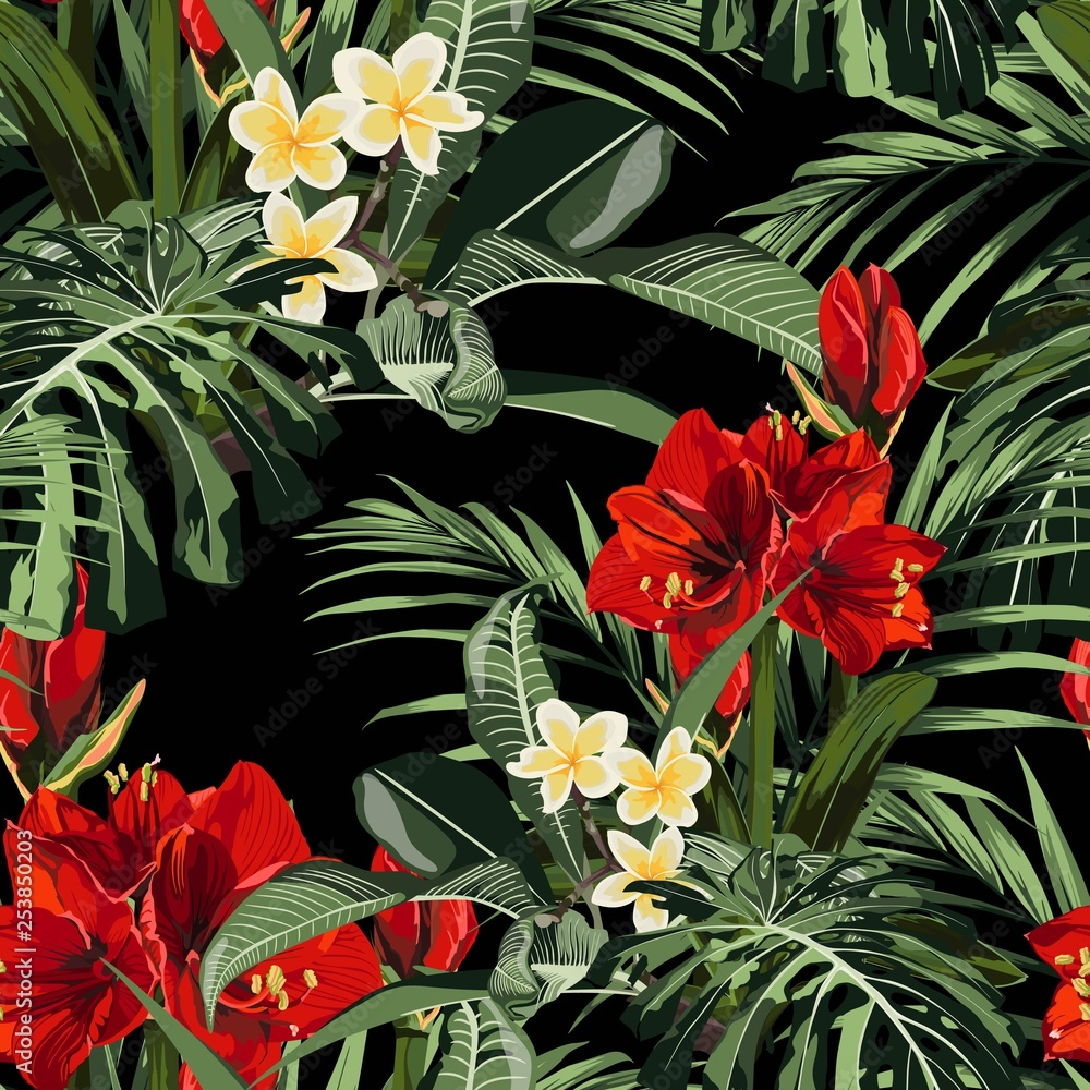 Seamless pattern, red lilies, plumeria flowers and tropical plants, palm leaves, monstera on black background.