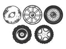 Wheels Evolution Sketch Engraving Vector Illustration. Scratch Board Style Imitation. Black And White Hand Drawn Image.