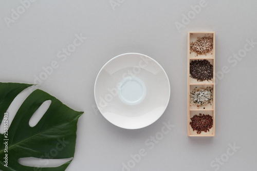 plate sesame seeds chi seeds hemp seeds linseed plant monstera top