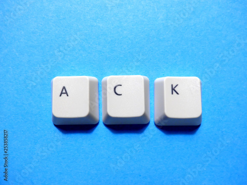 Photo Computer buttons form a ACK (Acknowledge or Acknowledgement or Acknowledged) abbreviation